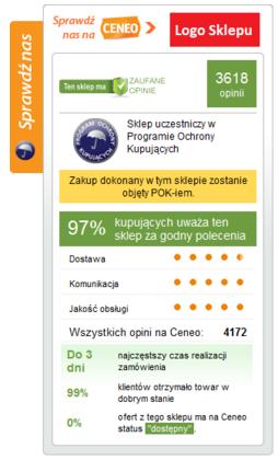 Porównywarka Ceneo widget opinii